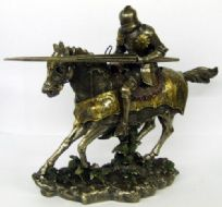 Large Resin Tournament Knight On Horseback Statue On Base